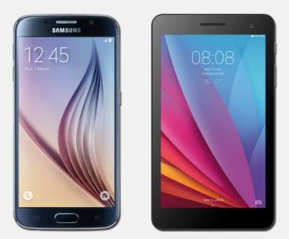 Samsung Galaxy S6 mit Huawei Mediapad T1