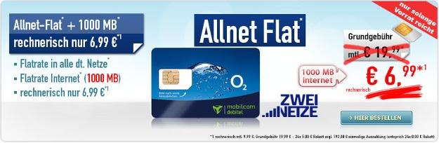 Allnet-Flat + 1000 MB 6,99 € Aktion