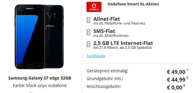 Vodafone Smart XL mit Samsung Galaxy S7 Edge