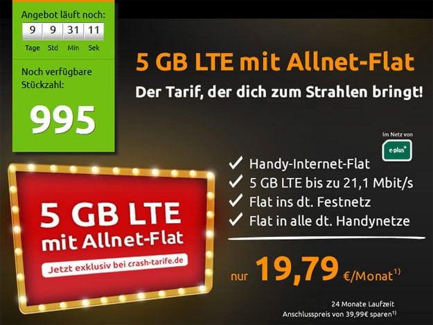 crash-Aktion - Yourflat - 5 GB LTE-Allnetflat - E-Plus