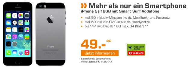 iPhone 5s mit Vodafone Smart Surf