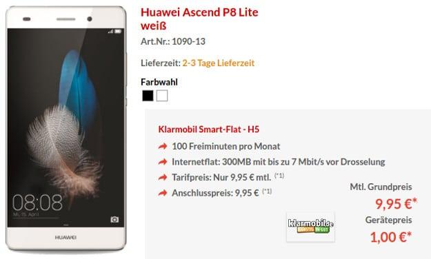 Huawei P8 Lite + klarmobil Smart-Flat
