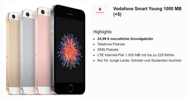 iPhone SE + Vodafone Smart Young