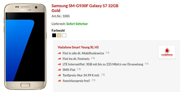 Samsung Galaxy S7 + Vodafone Smart Young XL