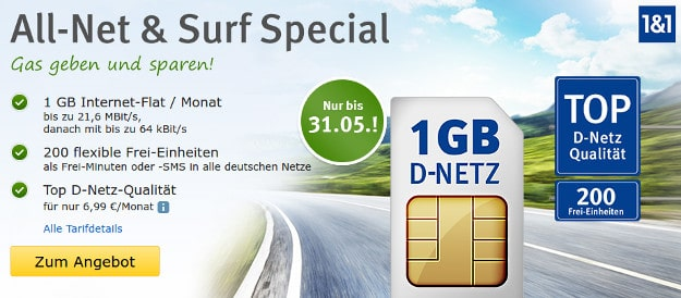 1&1 All-Net & Surf 1GB