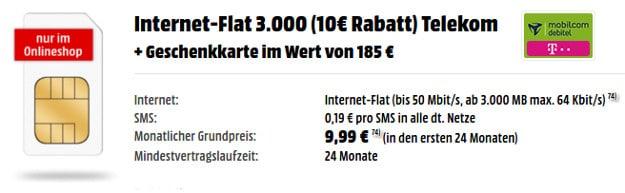 Internet-Flat 3000 + 185 € Gutschein