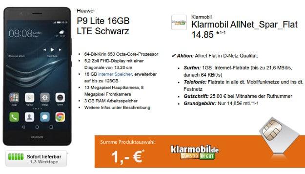 P9 Lite + klarmobil Allnet Spar Flat
