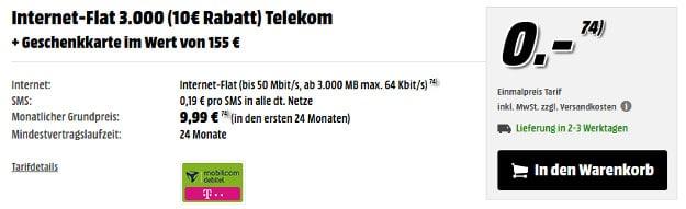 Internet Flat 3000 + 155 € Gutschein