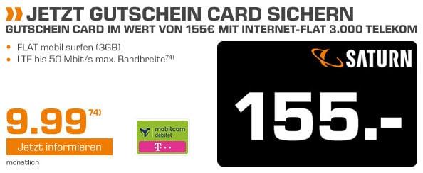 155 € Gutschein zum 3GB-LTE-Datentarif im Telekom-Netz