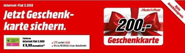 Telekom Flat 3000 mit 200 € Gutschein