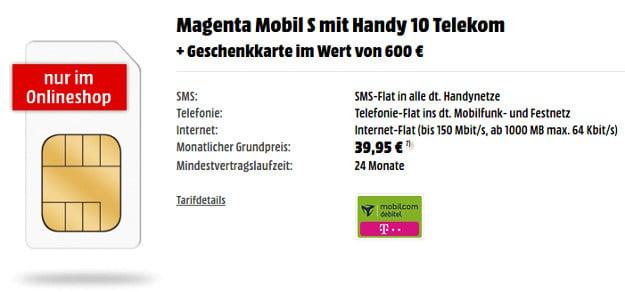 Telekom Magenta S + 600 € Gutschein