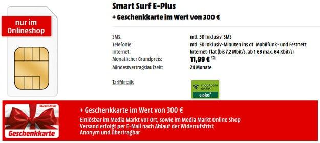 E-Plus Smart Surf mit 300 € Gutschein