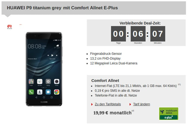 Huawei P9 + Comfort Allnet E-Plus