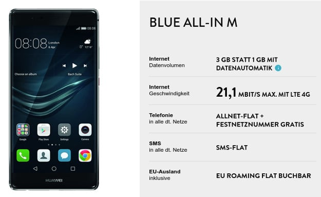 Huawei P9 Plus + Blue All-in M