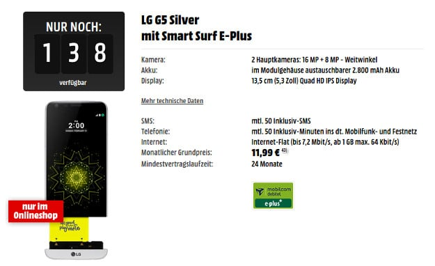 LG G5 + E-Plus Smart Surf