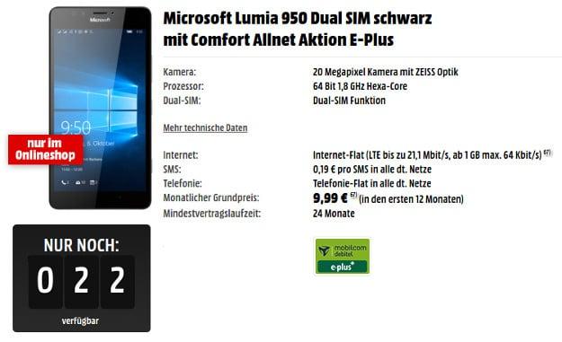Microsoft Lumia 950 Dual + Comfort Allnet E-Plus