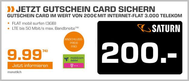 Telekom Datentarif 3 GB LTE - 200 EUR Saturn-Gutschein