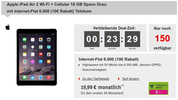 iPad Air 2 16GB LTE + Telekom Internet-Flat 6000