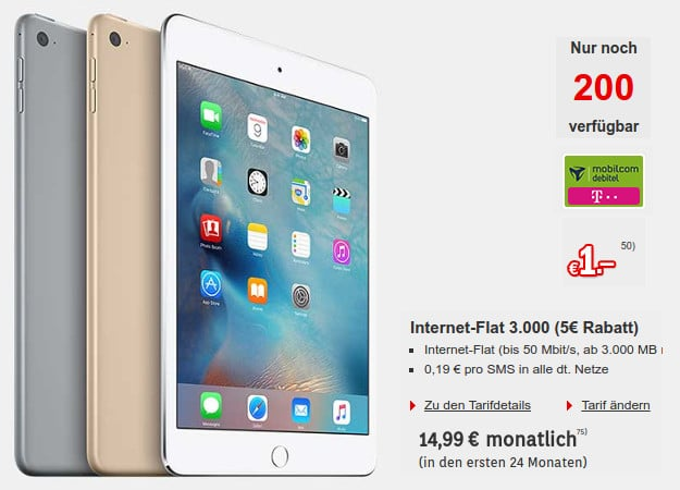 iPad mini 4 LTE + Internet-Flat 3000