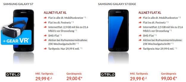 Samsung Galaxy S7, S7 Edge + otelo Allnet-Flat XL