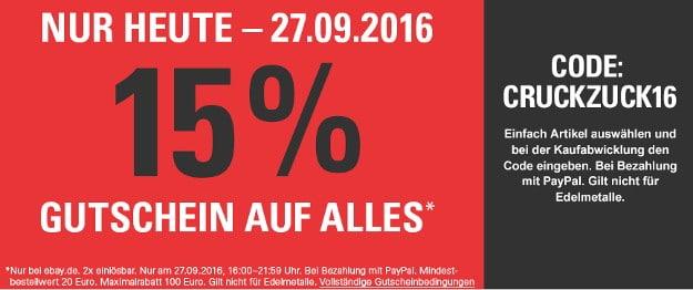 eBay 15 Prozent Aktion