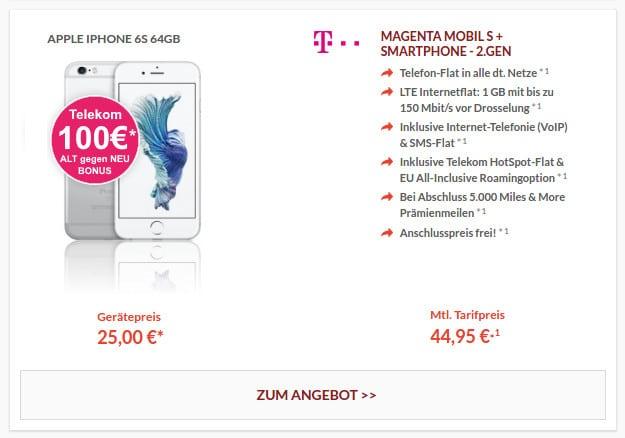 iPhone 6S + Magenta Mobil S Telekom