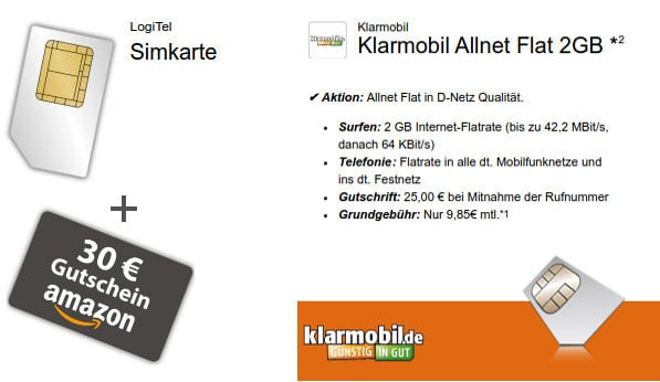 klarmobil Allnet-Flat mit 2 GB im Vodafone-Netz