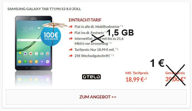 Eintracht-Tarif mit 1,5 GB + Tablet