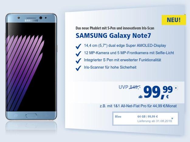 Samsung Galaxy Note 7 + 1&1 All-Net-Flat