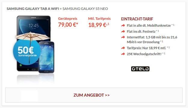 Samsung Galaxy S5 Neo + Tab A Wifi mit Cashback