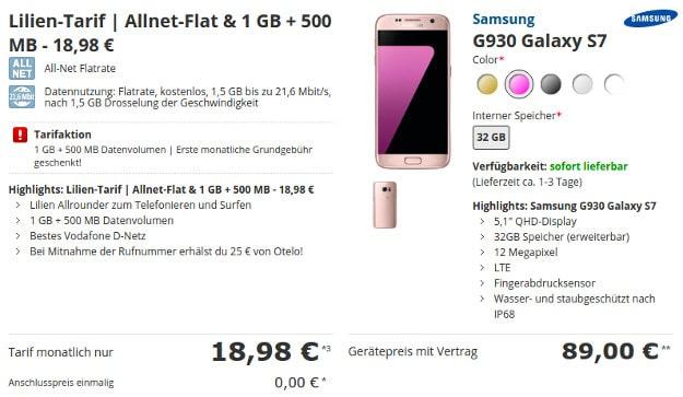 Samsung Galaxy S7 + Lilien-Tarif