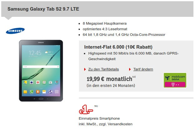 Samsung Galaxy Tab S2 + Internet-Flat 6000