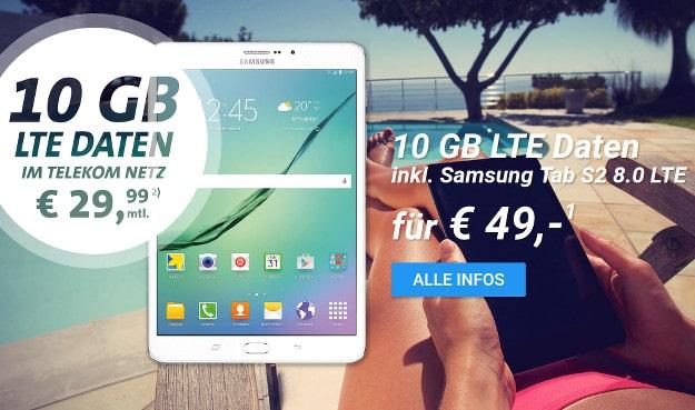 Samsung Tab S2 8.0 LTE + 10 GB Datenflat