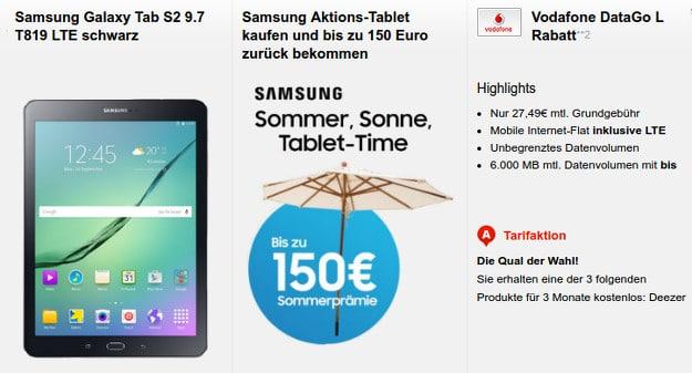 Vodafone Data Go L + Samsung Galaxy Tab Cashback
