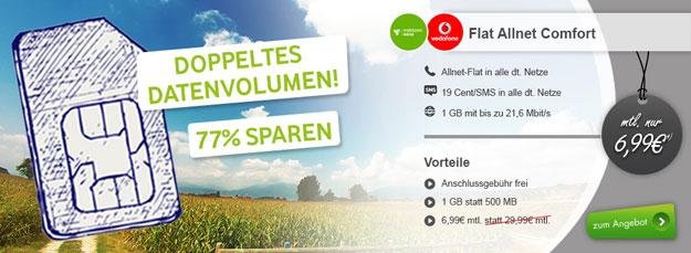 Vodafone Flat Allnet Comfort - 6,99 EUR