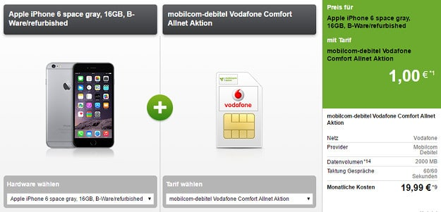 iPhone 6 + Vodafone Comfort Allnet (md)