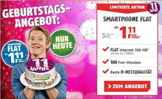 klarmobil Smartphone Flat 300 für 1,11 €