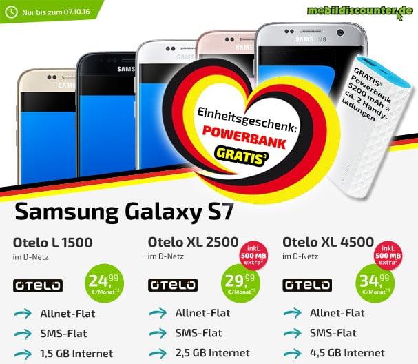 Samsung Galaxy s7 + otelo Allnet-Flat + Powerbank