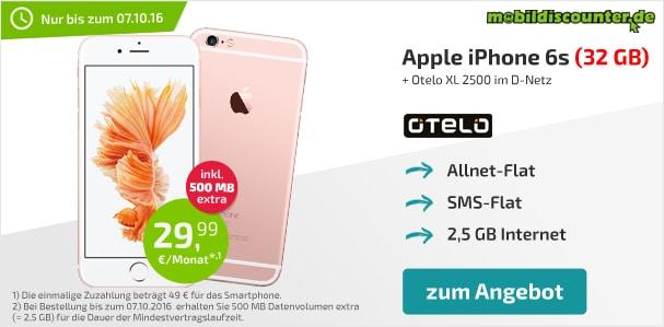iPhone 6s 32GB + otelo Allnet-Flat XL