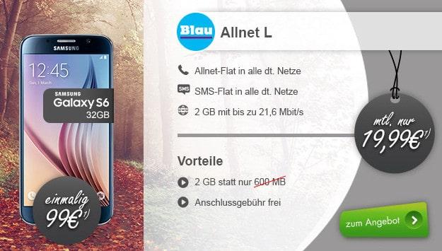 Samsung Galaxy S6 + Blau Allnet L