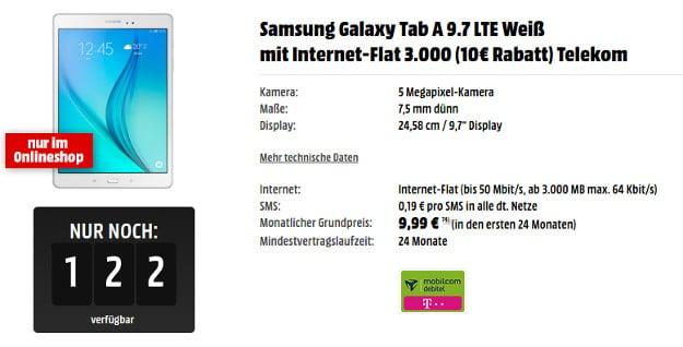 Samsung Galaxy Tab A + 3 GB LTE-Tarif