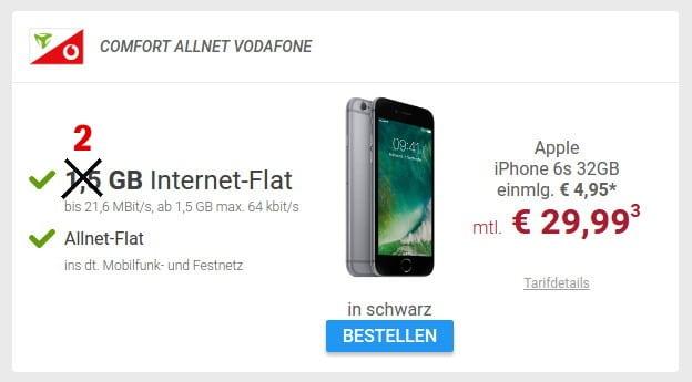 iPhone 6s + Comfort Allnet Vodafone 2 GB(md)