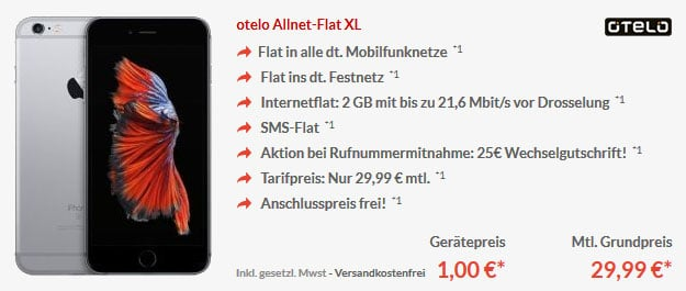 iPhone6s - otelo Allnet Flat XL
