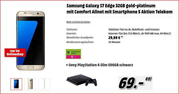 samsung galaxy 7 edge comfort allnet ps4