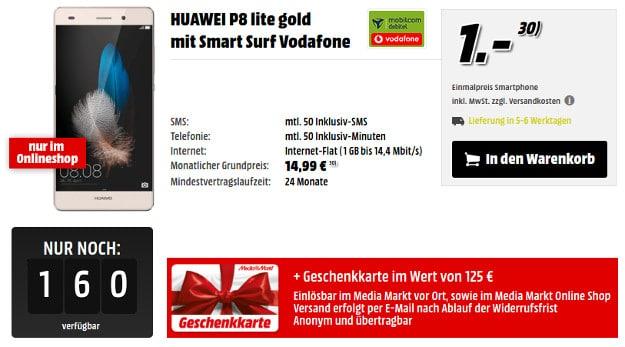 Huawei P8 Lite + Gutschein von Media Markt