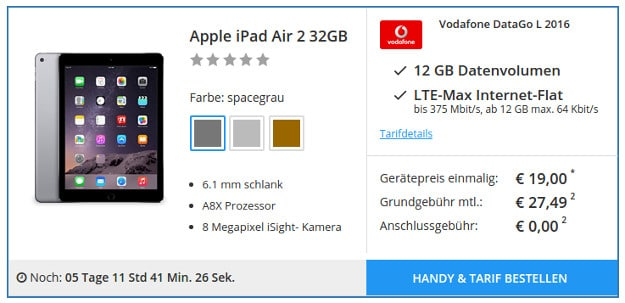 iPad Air + DataGo L Sparhandy Black Friday