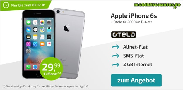 iPhone 6s + otelo Allnet-Flat XL mobildiscounter