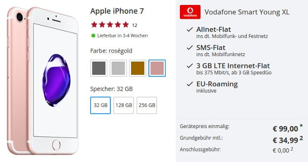 iPhone 7 + Vodafone Smart Young XL