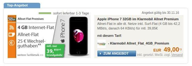 iPhone 7 + klarmobil Allnet-Flat Premium
