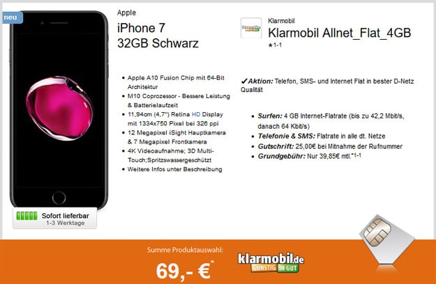 iPhone 7 klarmobil allnet flat 4gb